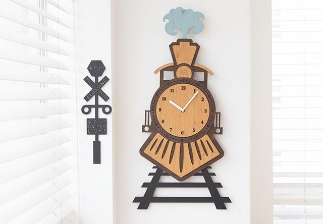 壁掛け時計 ウォールクロック Train Trip 蒸気機関車 壁掛け時計 時計 壁掛け