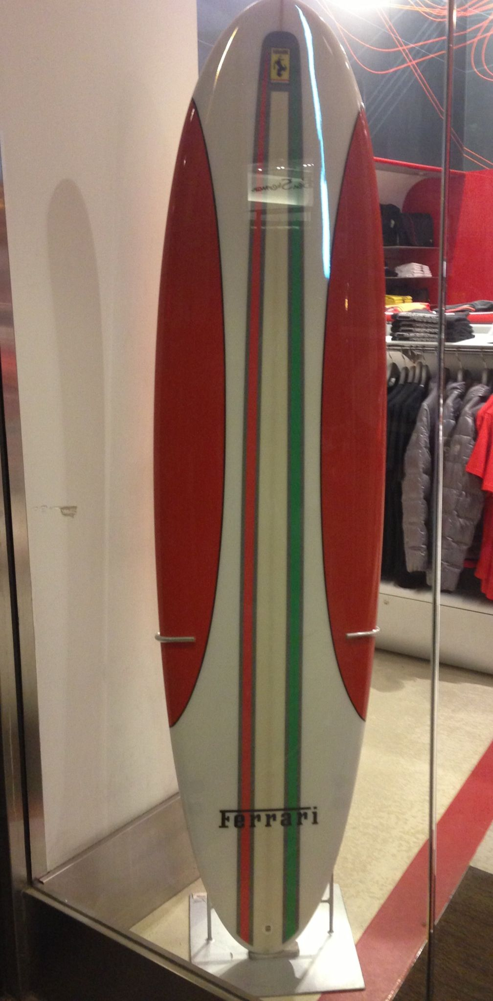 Ferrari surfboard... Really? At the Ferrari store, Stockton Street ...