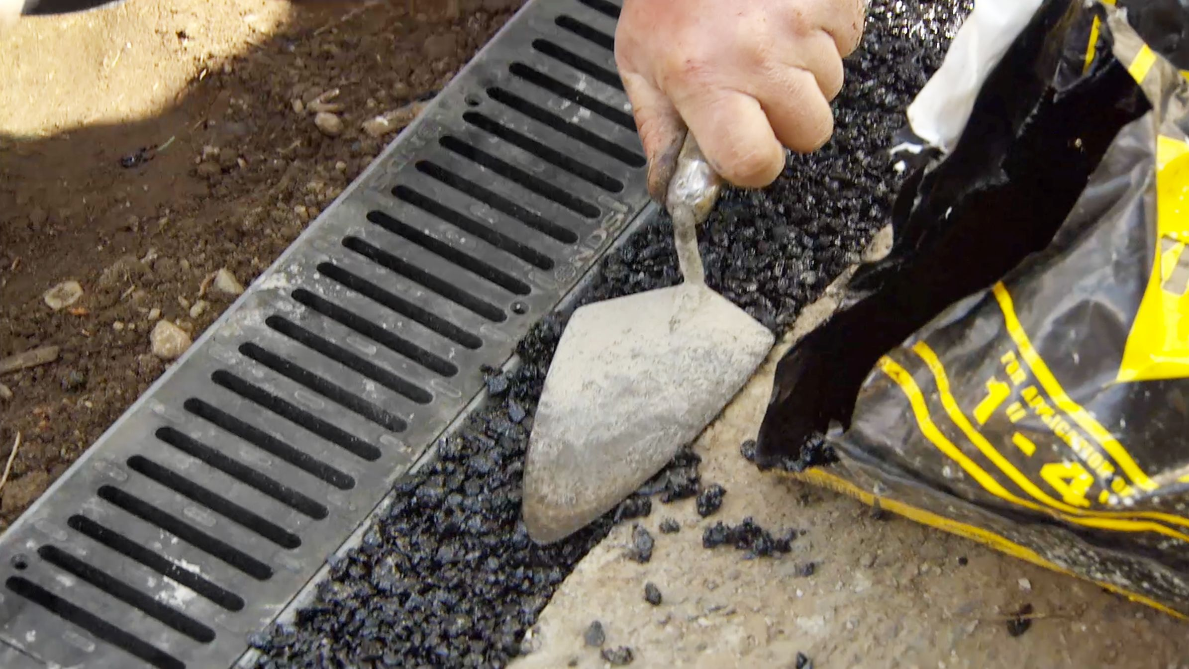 How to install a channel drain house landscape for Landscape channel drain