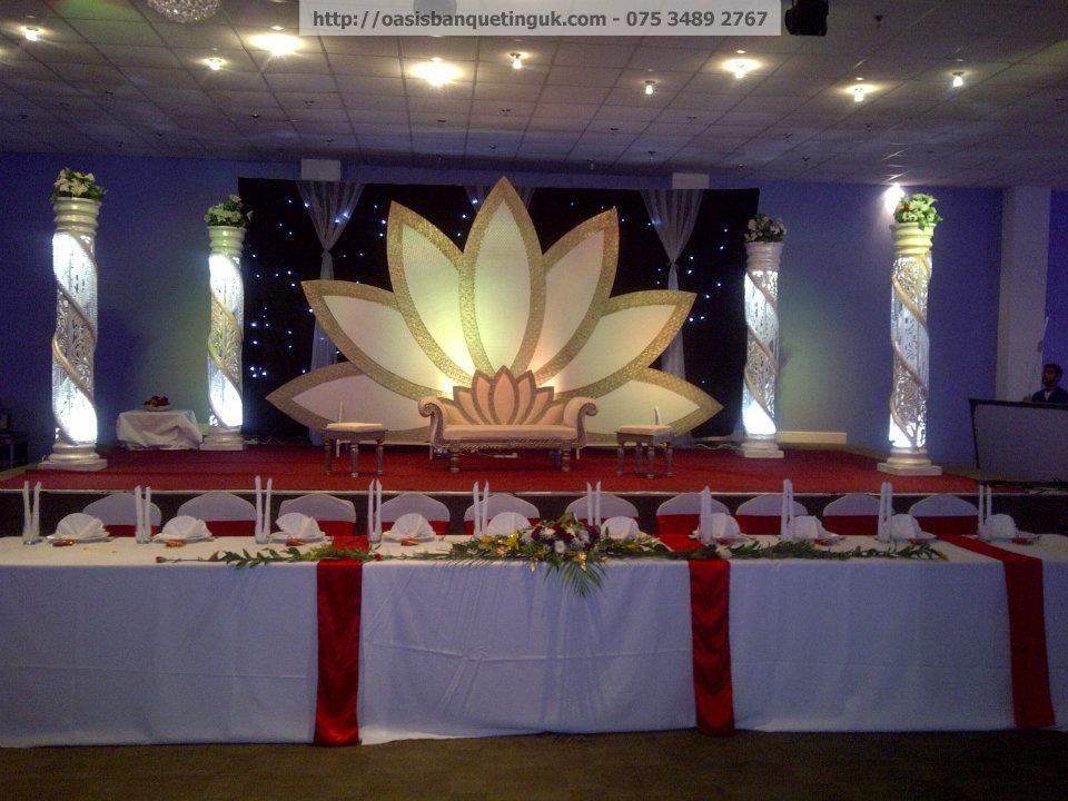1 Indian Lotus Flower Wedding Stage With The Colour Theme Pinkred