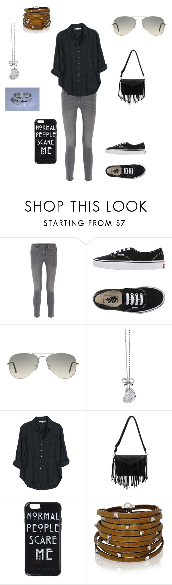 """""""Saturday"""" by glendagranados ❤ liked on Polyvore featuring MiH Jeans, Vans, Ray-Ban, Lipsy, Xirena and Sif Jakobs Jewellery"""