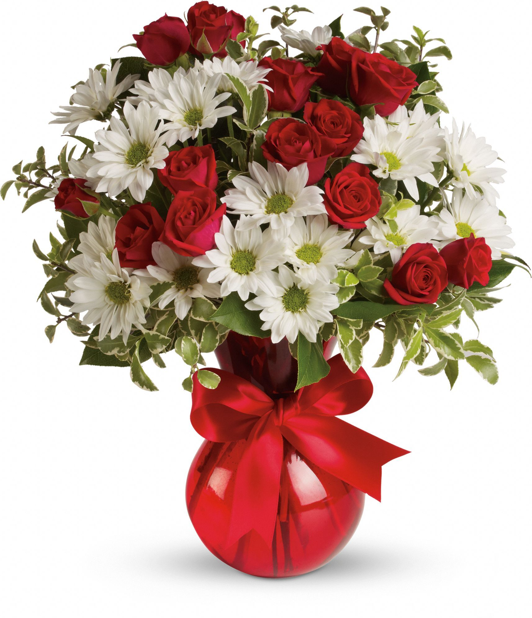 Red White And You Bouquet by Teleflora Love the red vase