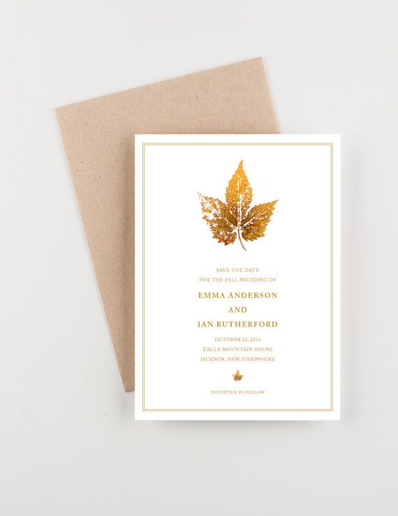 Painted Gold Leaf Save The Date Wedding by seahorsebendpress