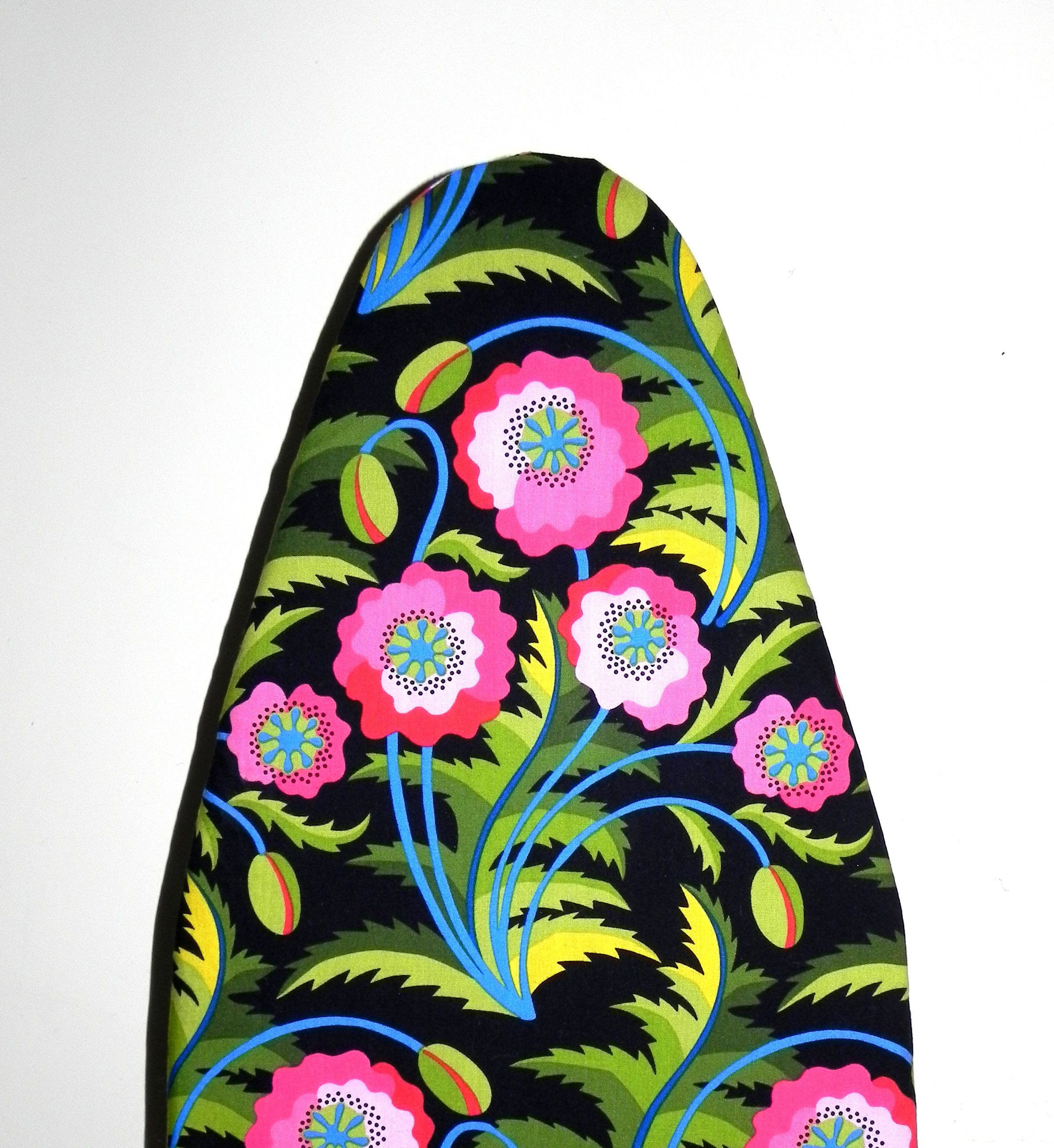 Tabletop Ironing Board Cover   Black, Pink, Blue, Green And Yellow Jane  Sassaman Early Birds Fabric