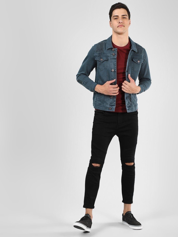Buy Blue Saint Grey Overdyed Distressed Denim Jacket For Men Online In India Distressed Denim Jacket Denim Jacket Men Distressed Jacket [ 1440 x 1080 Pixel ]