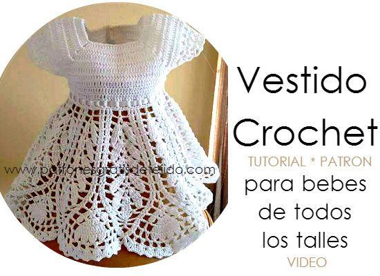 Vestido para bebes y niñas tejido a crochet con canesu varetas y ...