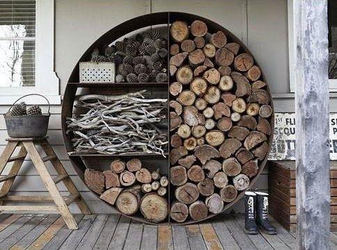 Porte buche rond bois de chauffage stockage de bois Fabriquer un porte buche