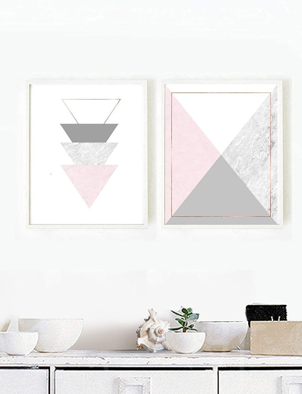 Home Decor Living Room Set Amazon Geometry Wall Art Abstract Pink Grey Wall Art Pink Grey Wall Art Grey Wall Art Geometric Wall Art