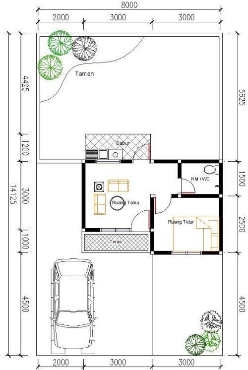 Denah Rumah Type 21 1 Lantai : denah, rumah, lantai, Desain