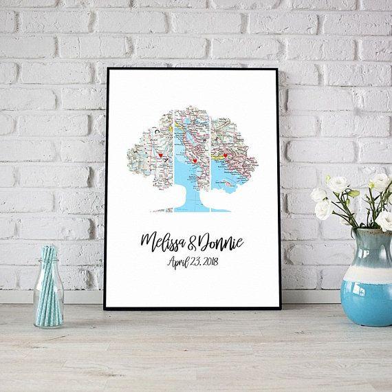 Personalized Map Art, Family Tree Art, Oak tree, Map Wall