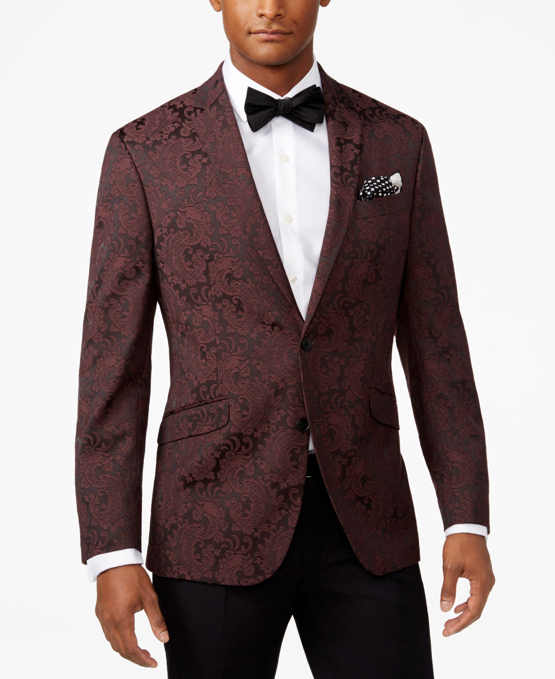 Kenneth Cole Reaction Men s Slim-Fit Burgundy Paisley Dinner Jacket ... d3aaf81ad