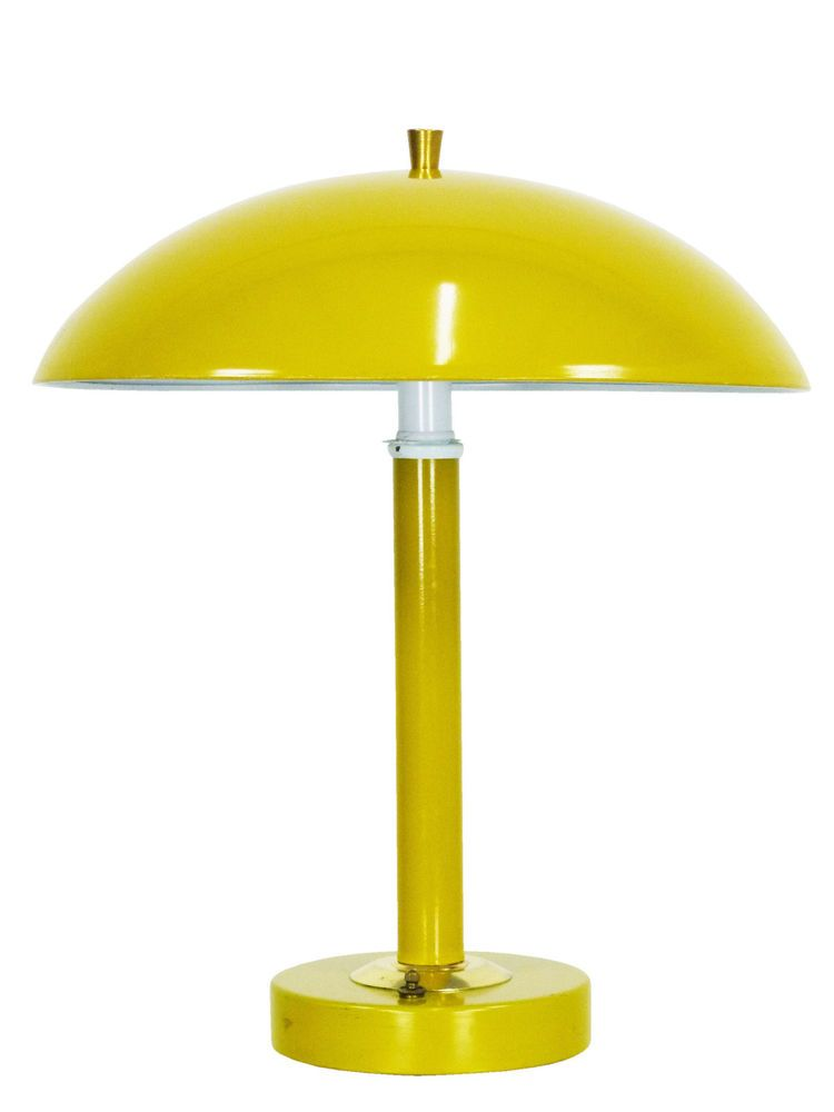 Mid Century Yellow Saucer Dome Table Lamp Vintage Modern Desk Light Laurel Era Vintage Table Lamp Modern Desk Lighting Lamp