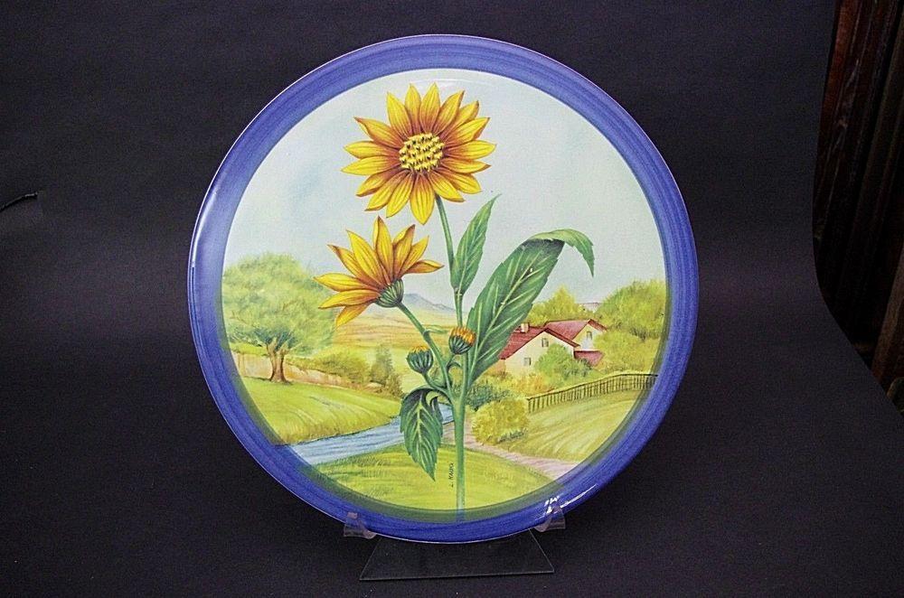 13\  Ceramica Due Torri Mauri Cheese Serving Plate Platter Farm Scene Italy & 13\