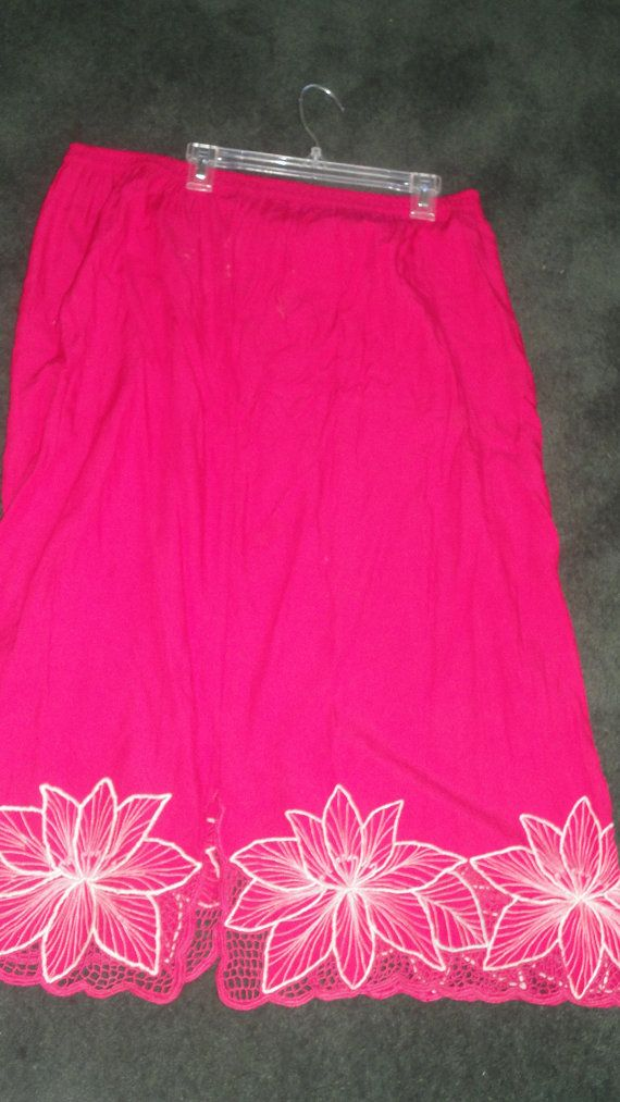 Vintage pink Fushia embroid Floral long by PatsapearlsBoutique, $4.99