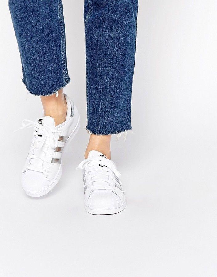 Adidas Originals White Silver Superstar Sneakers Adidas Shoes Women White Adidas Adidas Shoes Women Sneakers