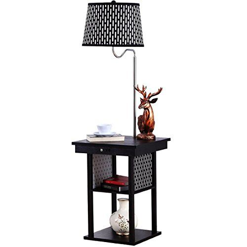 Table With Built In Lamp Gorgeous Brightech  Madison Floor Lamp With Builtin Twotier Black Table Inspiration Design