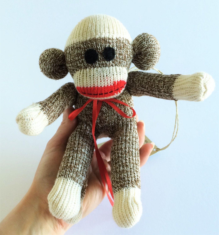 Rockford Red Heel Sock Monkey-Handmade size mini with Felt eyes ...