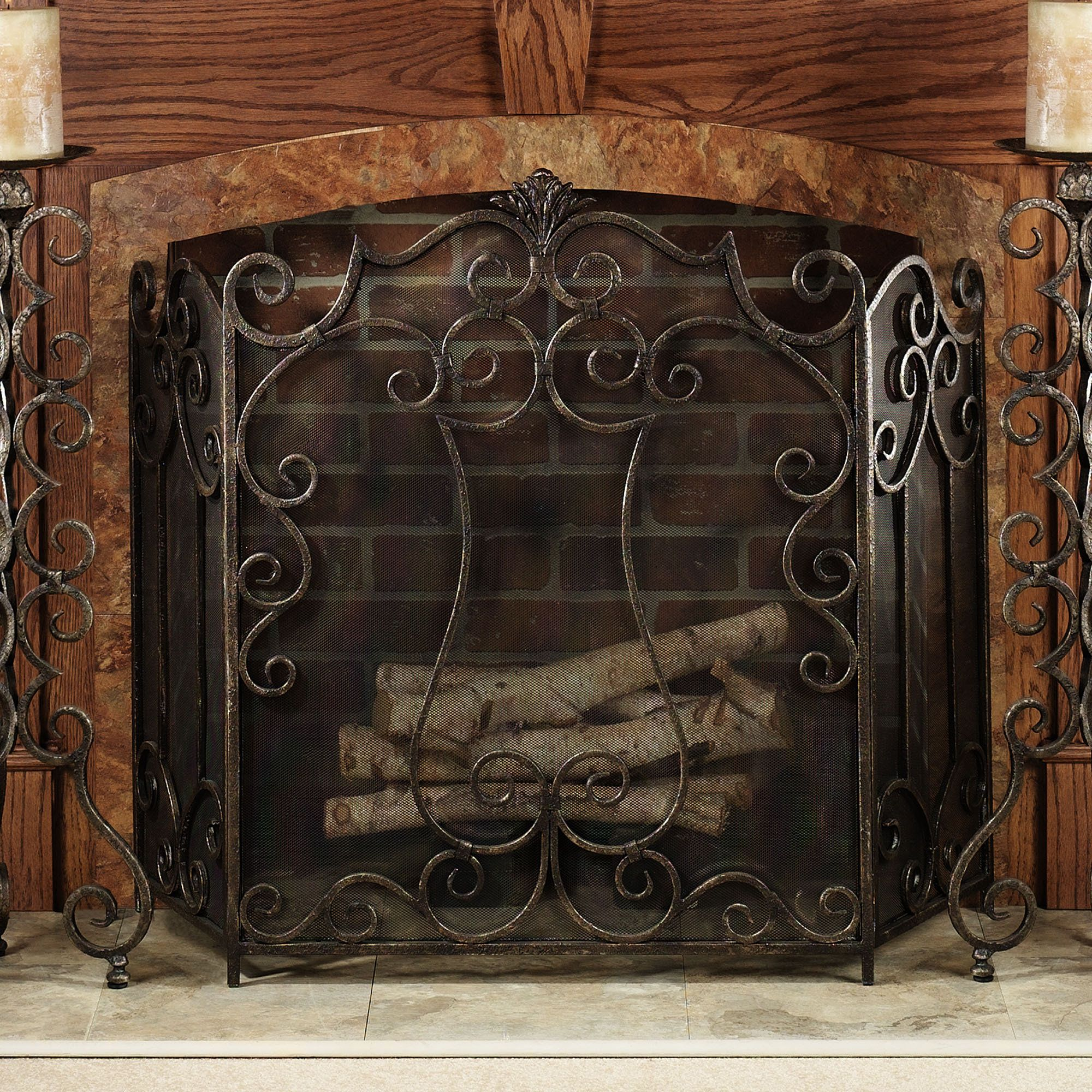 rosen htm gold accessories screen antique fireplace