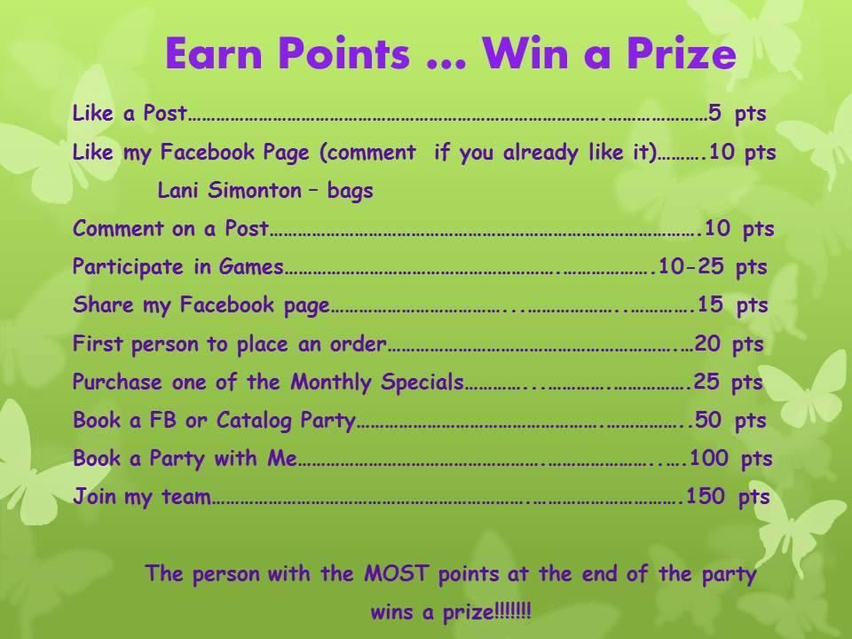 Facebook Party Giveaway a prize even during facebook