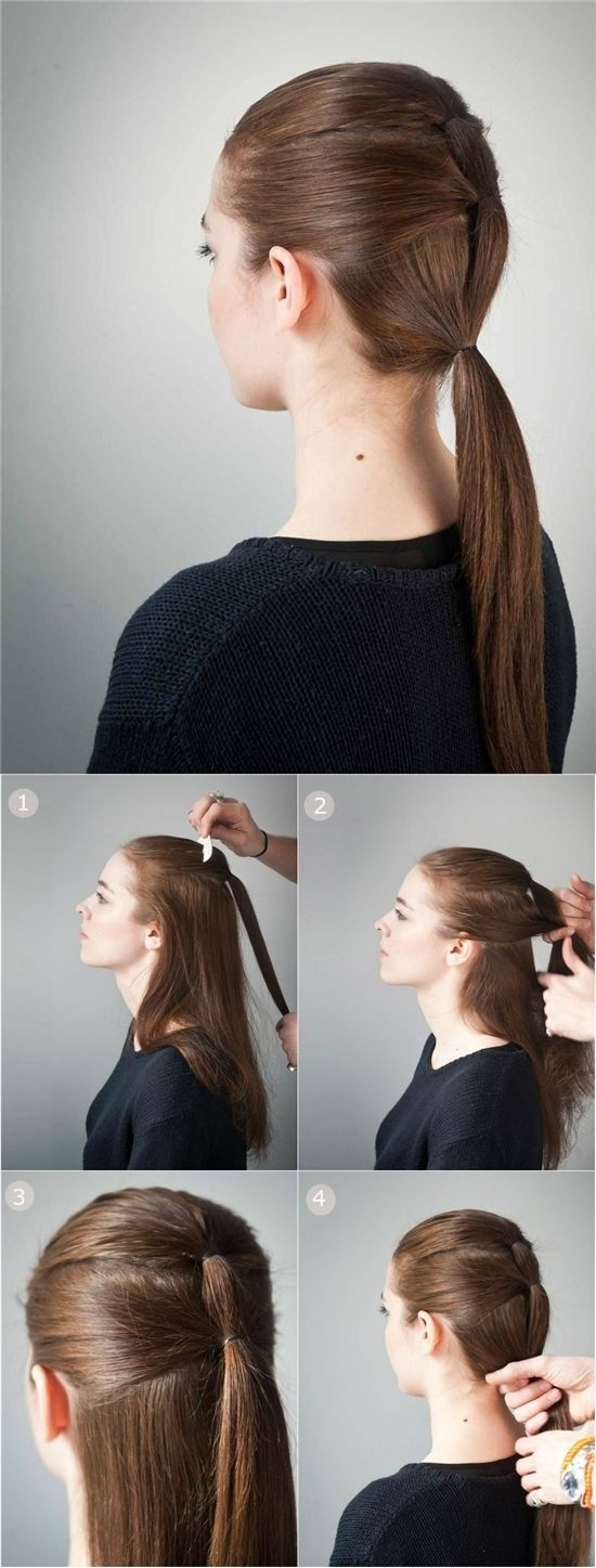 23 Beautiful Hairstyles for School | Straight long hair, Ponytail ...