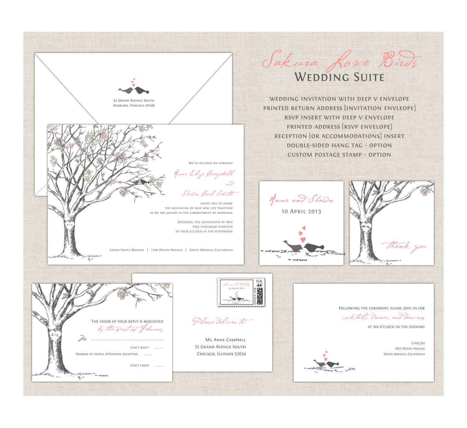 Love Birds Wedding Invitations Cherry Blossom By Paperimpressions: Cherry Blossom Wedding Invitation Kit At Reisefeber.org
