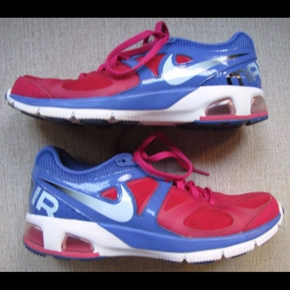 Preowned nike air size 8.5 womens pink white blue