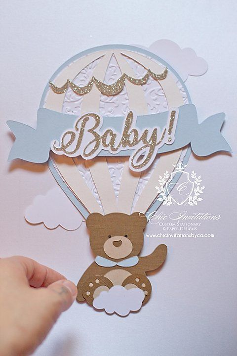Teddy bear invitation, hot air balloon invitation, handmade baby shower | Chic I...  Teddy bear invitation, hot air balloon invitation, handmade baby shower | Chic Invitations  Teddy b #Air #Baby #Balloon #Bear #Chic #Handmade #Hot #Invitation #Shower #Teddy