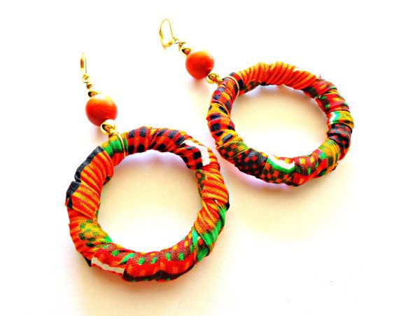 Fabric Jewelry African Kente Print Fabric by KheperaAdornments
