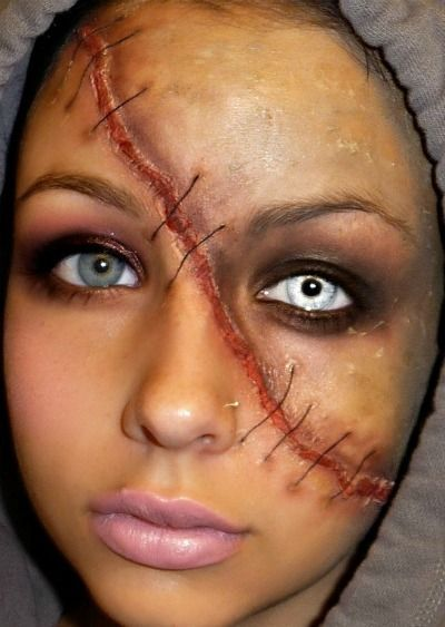 full face scar halloween makeup idea sick beauty - Scary Faces For Halloween With Makeup