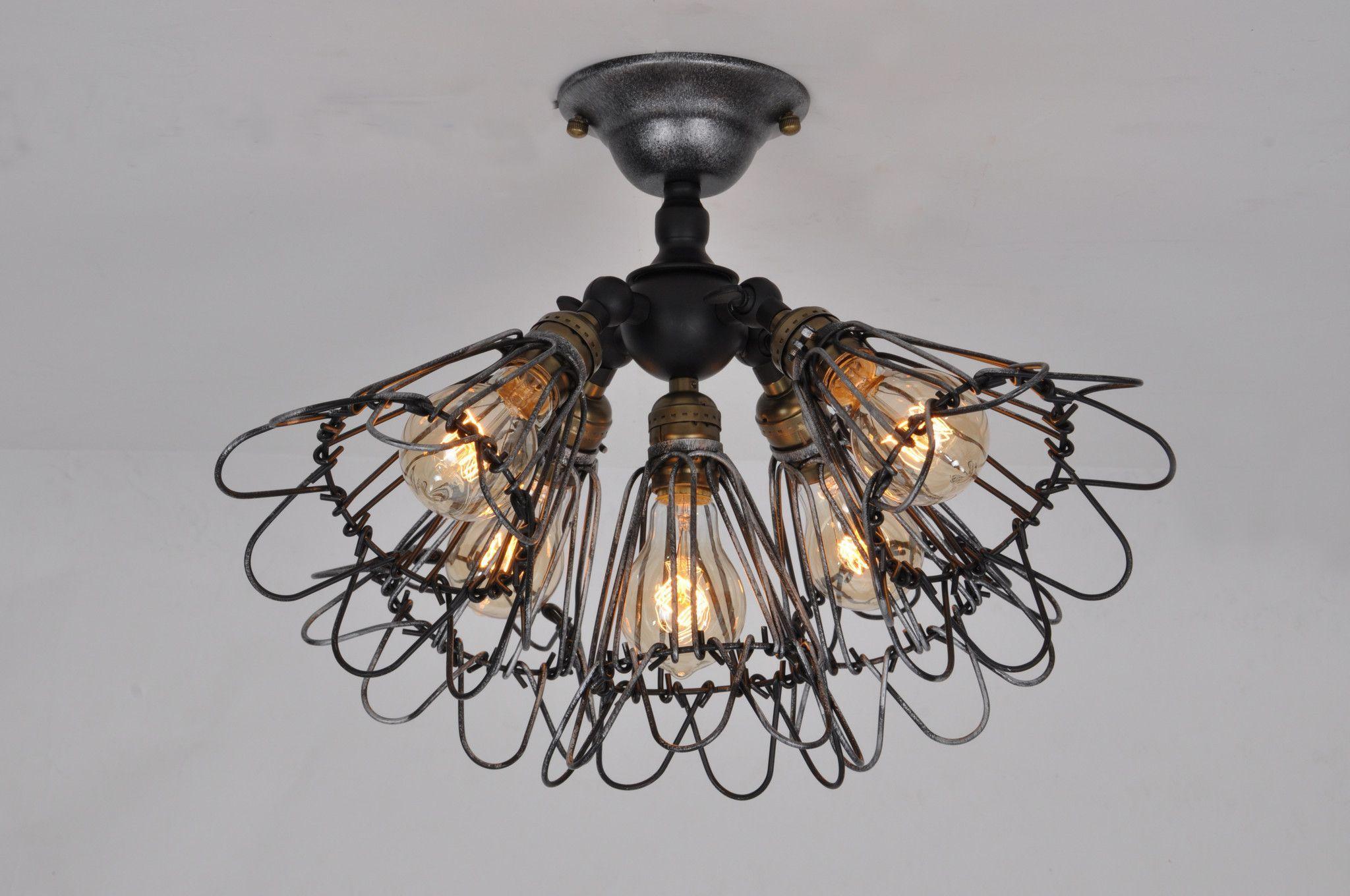 Kronleuchter Vintage Silber ~ Vintage barn metal semi flush mount light max w with lights