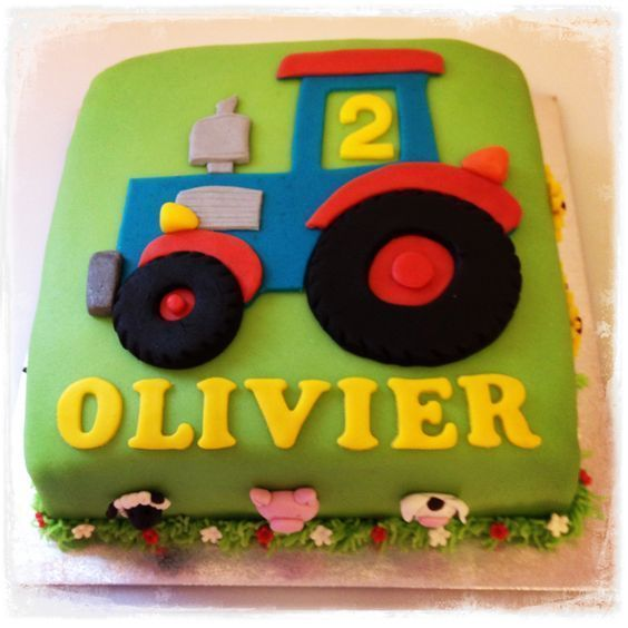 Comment Fabriquer Un Tracteur En Mastic Archie S 2nd Bday Party Tractor Birthday Cakes Tractor Cake Birthday Cake Kids