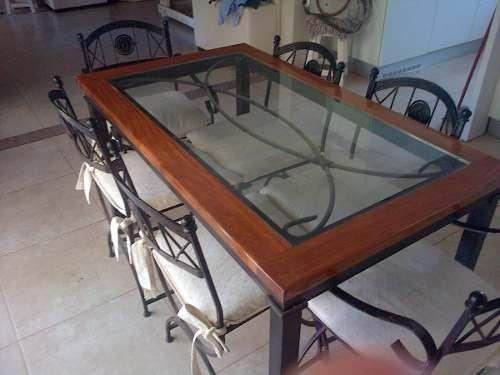 Hermoso juego de comedor en hierro forjado y madera for Juego de mesa y sillas para cocina