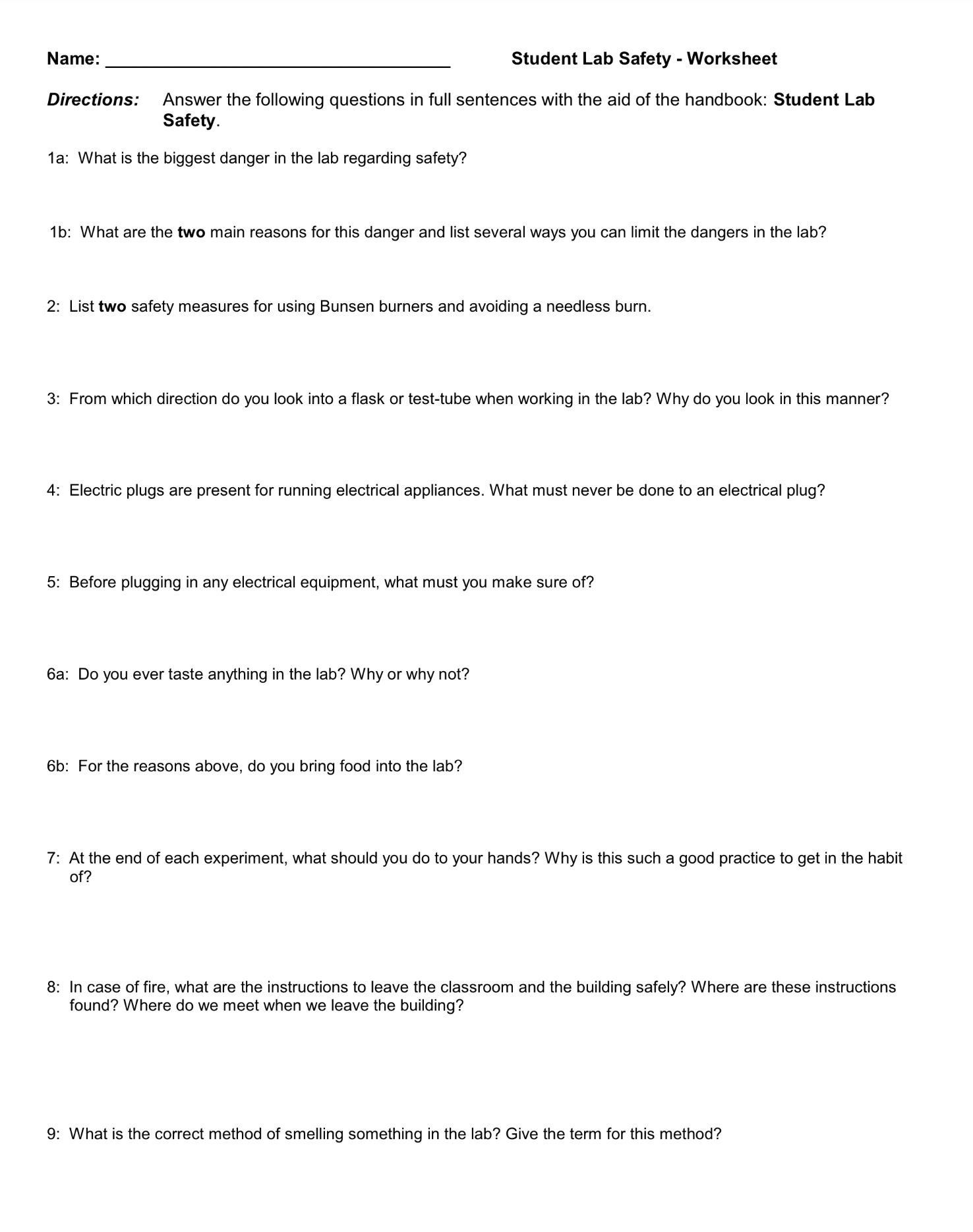 Lab Safety Worksheet Student Lab Safety Worksheet