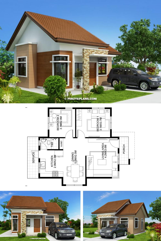 Katrina Stylish Two Bedroom House Plan Pinoy Eplans Small House Blueprints Small House Design Plans Small Modern House Plans