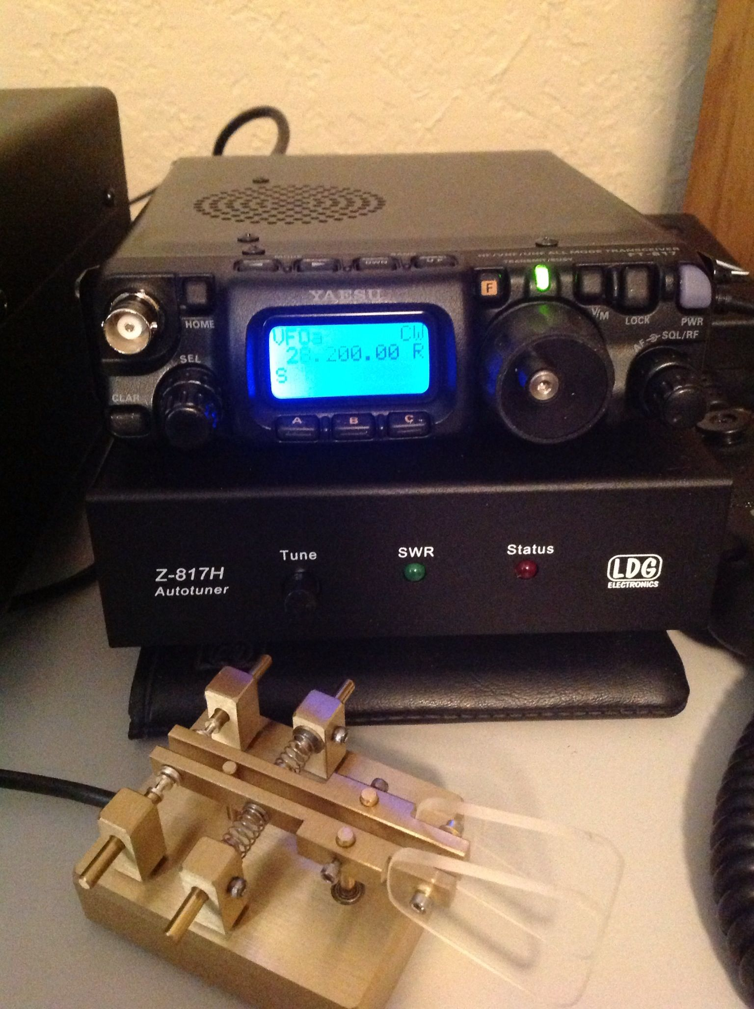 Yaesu FT-817 ND all mode all band QRP setup at WW5XX shown with LDG
