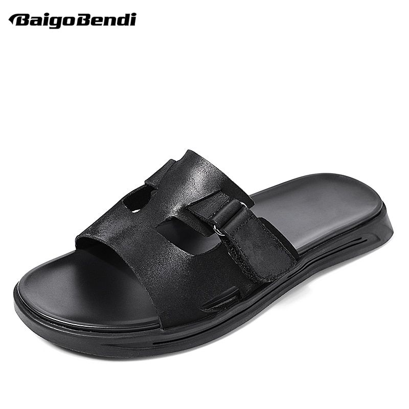 3288cda0e27c34 Fashion Hollow Out Leather Sandals Men Hook Loop Slippers Outdoor Man Summer  Trendy Slides Shoes Beach