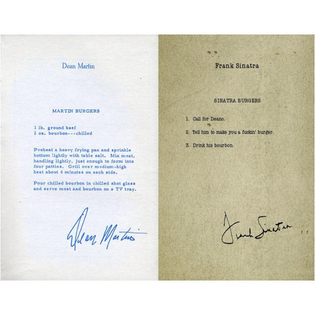 Burger Recipes By Dean Martin And Frank Sinatra Dean Martin Frank Sinatra Sinatra