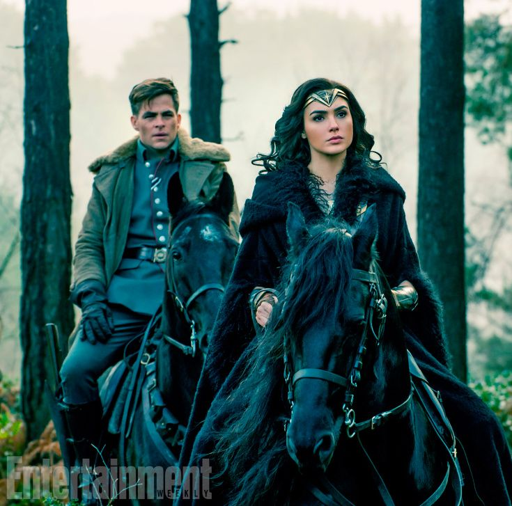 Chris Pine (Steve Trevor) and Gal Gadot (Diana Prince/Wonder Woman)