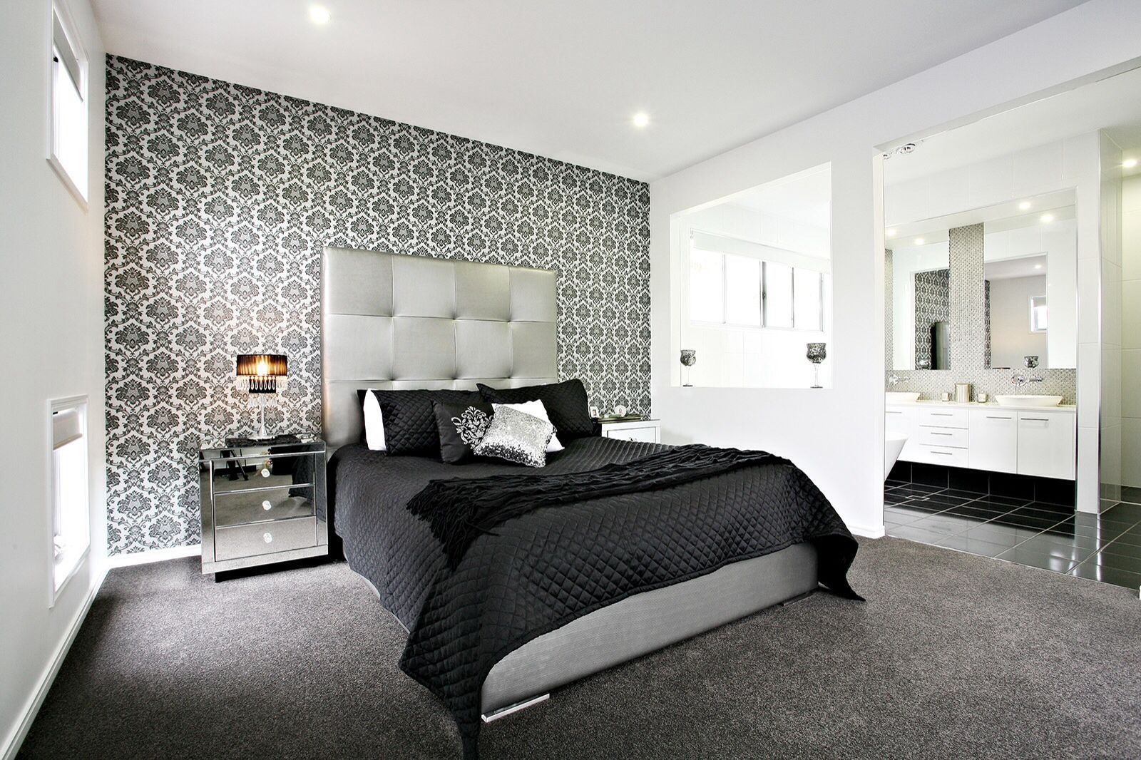 Black White Bedroom Feature Wall Bedroom Wallpaper Bedroom