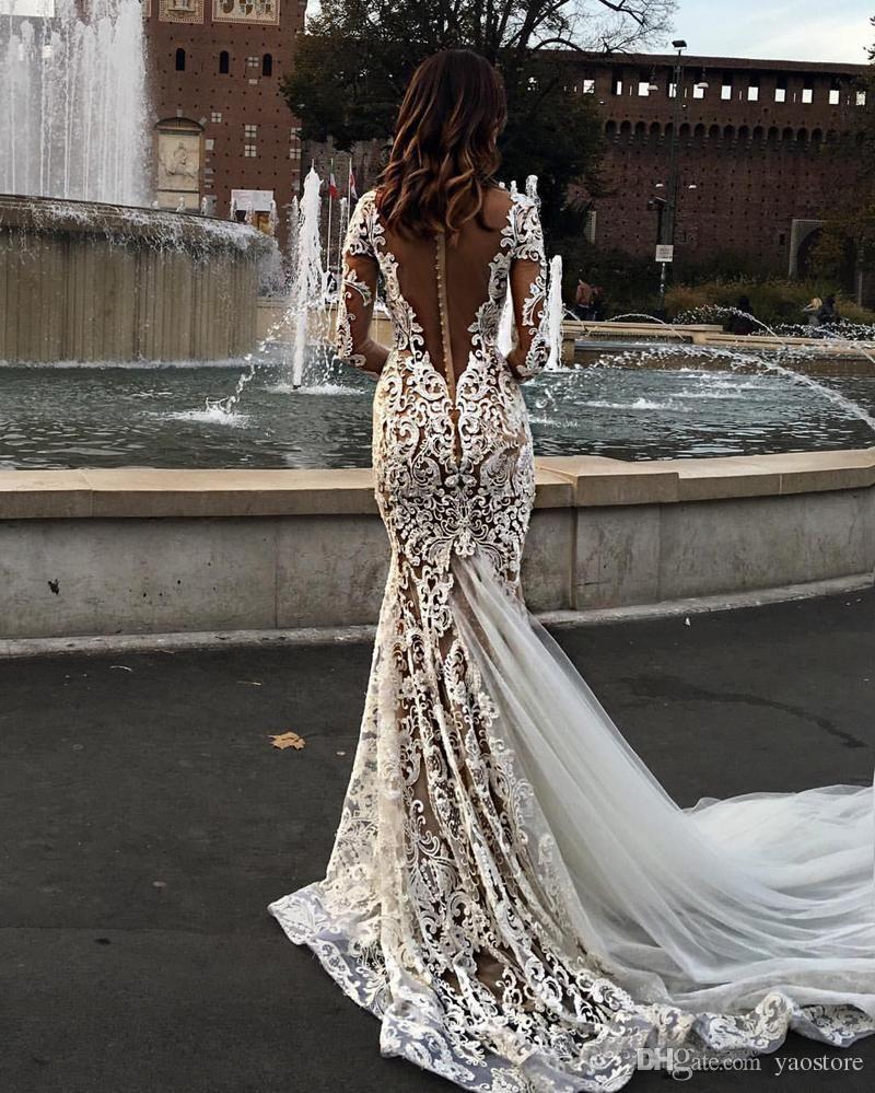 Modest long sleeve lace wedding dresses  Cheap Modest Lace Mermaid Wedding Dresses With Long Sleeves V Neck
