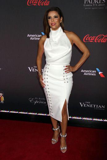 Eva Longoria wowed in white on the red carpet in Las Vegas.