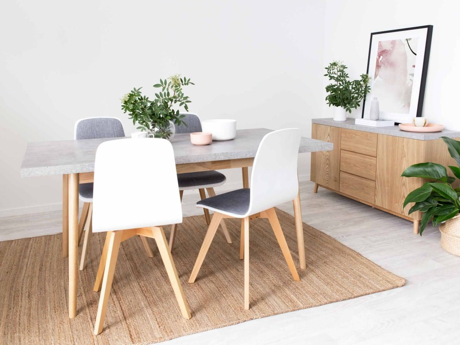 Mocka Nava Dining Table With Austin Chairs Ruby Rug And Nava Buffet Furniture Dining Table Modern Dining Room Set Dining Furniture