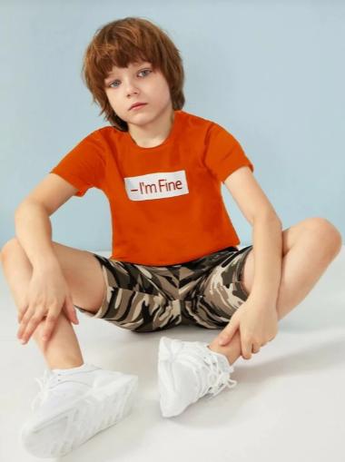 Boys Neon Orange Slogan Print Tee Kids Fashion Boy Handsome Kids Boys Summer Outfits