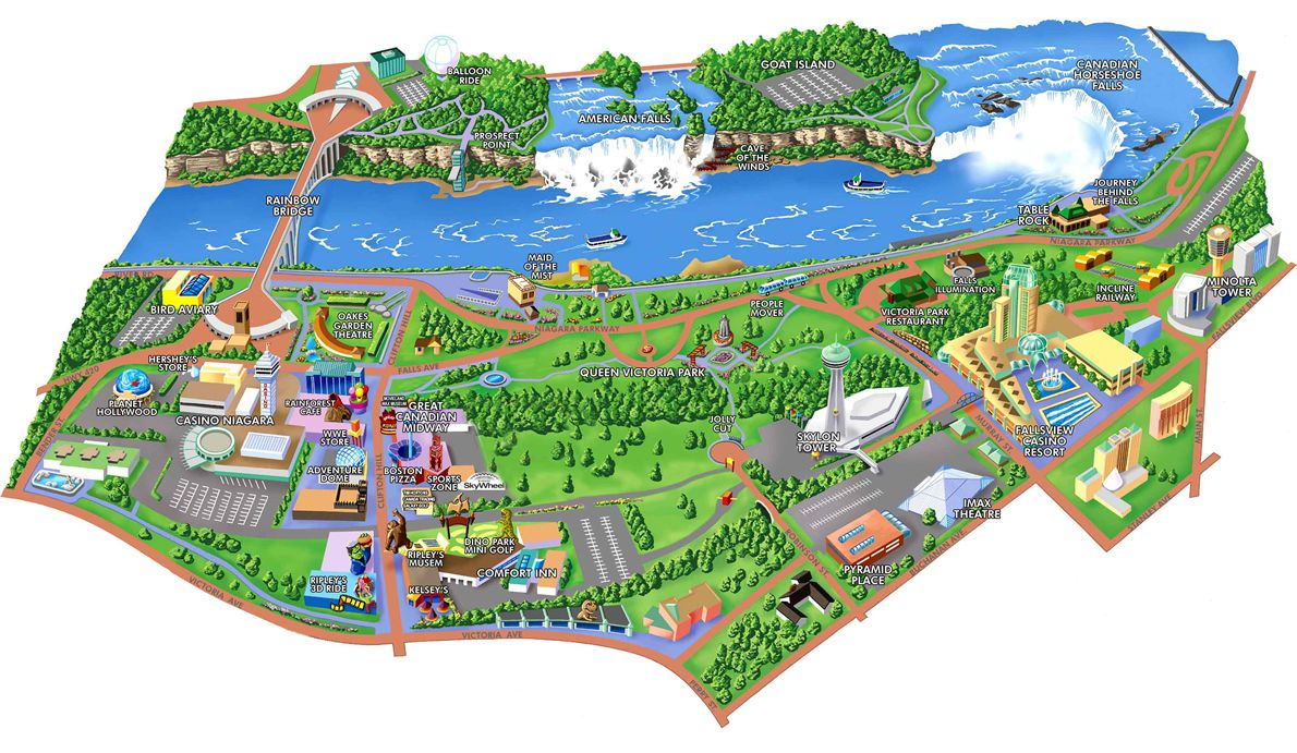 Map Of Attractions In Niagara Falls Canada Directions to the rex motel, Niagara Falls Ontario Canada