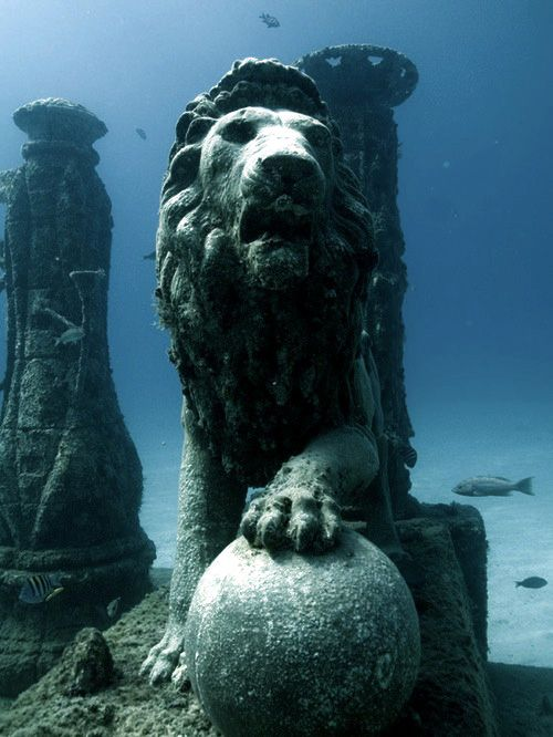 A Lion Sculpture in the Neptune Memorial Reef, 3.25 miles off the coast of Key Biscayne, Florida. (Creators of the reef hope it will become a memorial for the dead and a diving site.) @ Divescapes