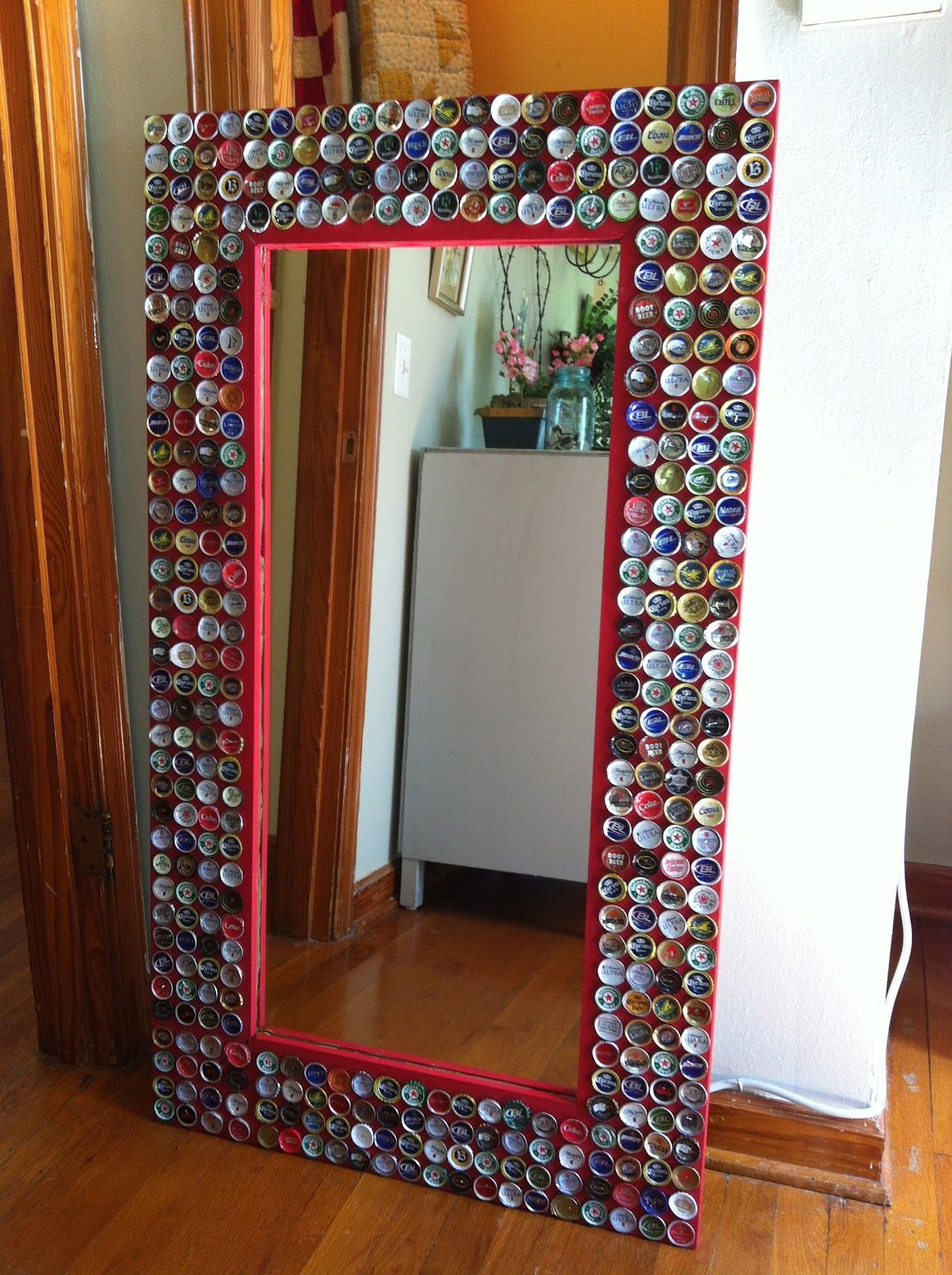 Beer cap mirror made with love   I made this!   Pinterest   Beer ...