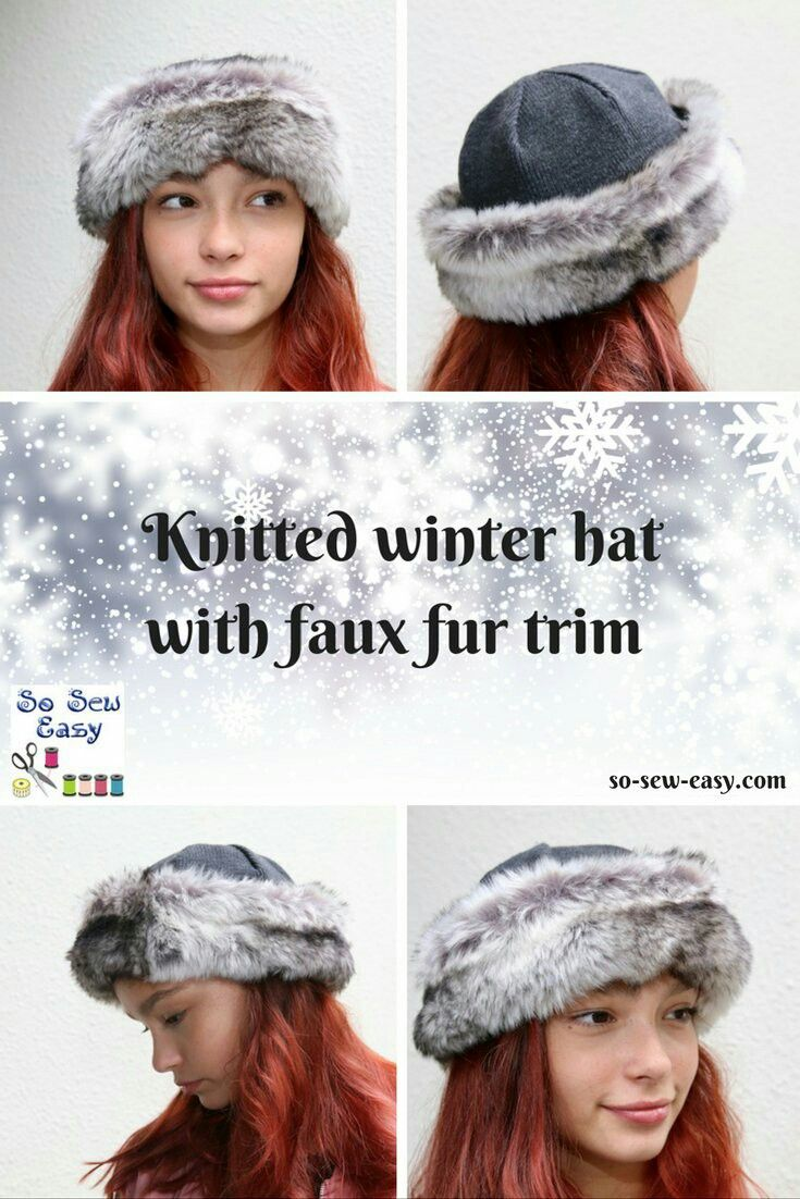 Winter hat with faux fur trimming FREE pattern & tutorial