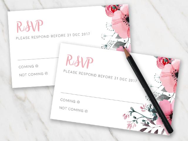 Printable FREE Wedding RSVP Template & Cards Microsoft