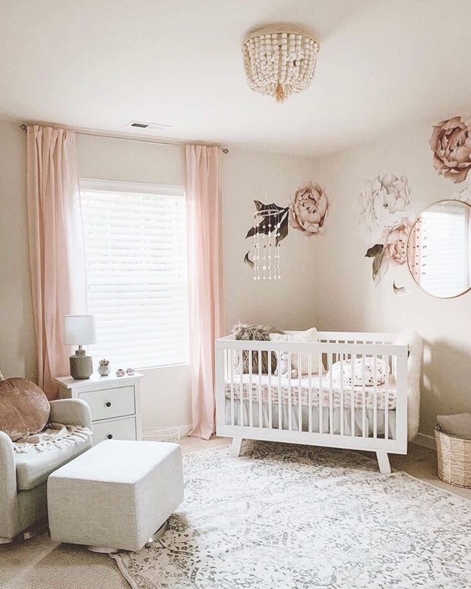 sweet and feminine nursery 🥰 • babyletto Hudson crib
