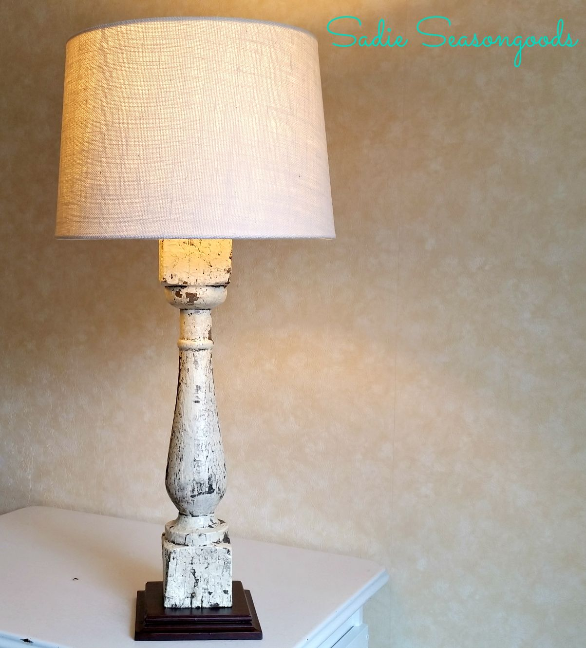 Vintage porch balusters (the spindle& larger cousin) make great lamps that  look like they came from trendy, high-end boutique!